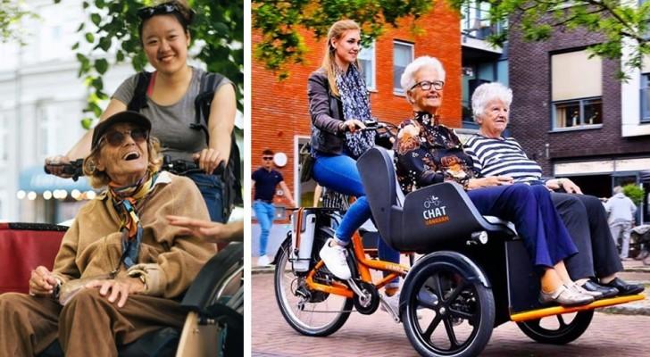 Os voluntários desta associação transportam idosos nas suas bicicletas para que eles possam reviver a emoção de pedalar