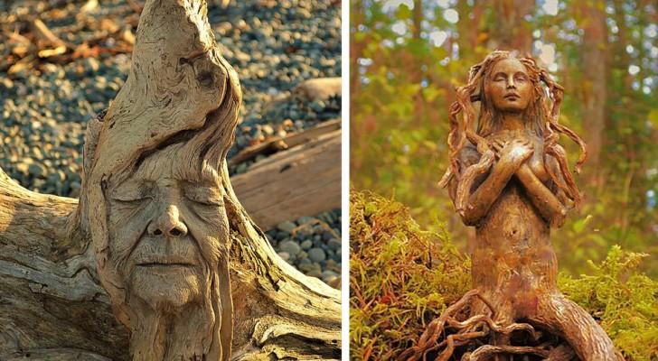 Questa donna recupera il legno in riva al mare per creare sculture realistiche che ricordano gli spiriti della Natura