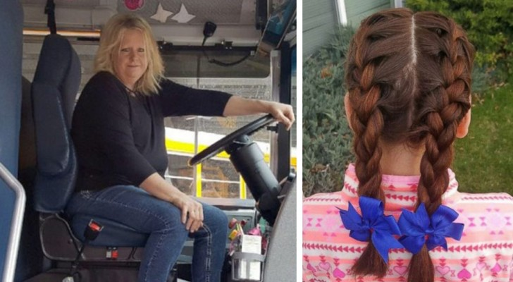She lost her mother and her father can't comb her hair: the school bus driver makes her beautiful hairstyles