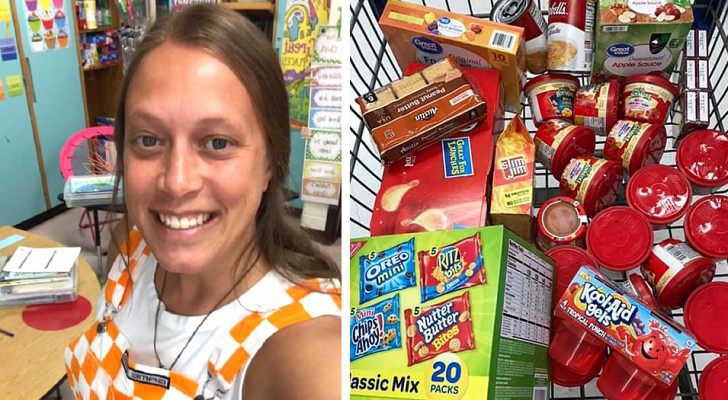 This teacher buys food for one of her students who is in difficulty