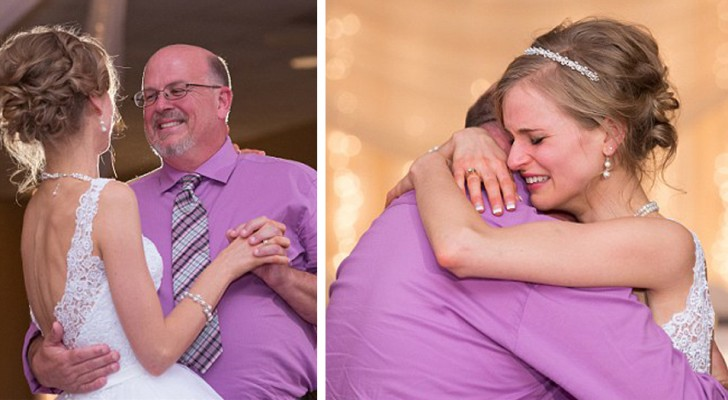 The bride dances at her wedding with the donor who 10 years earlier had saved her from leukemia