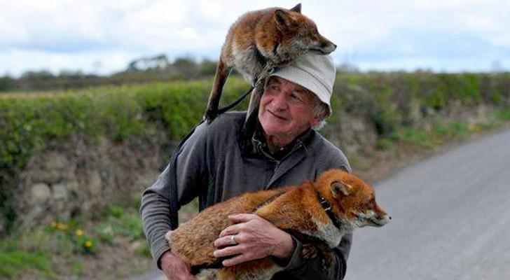 Deze dierenliefhebber redt twee vossen van de weg en wordt hun beste vriend