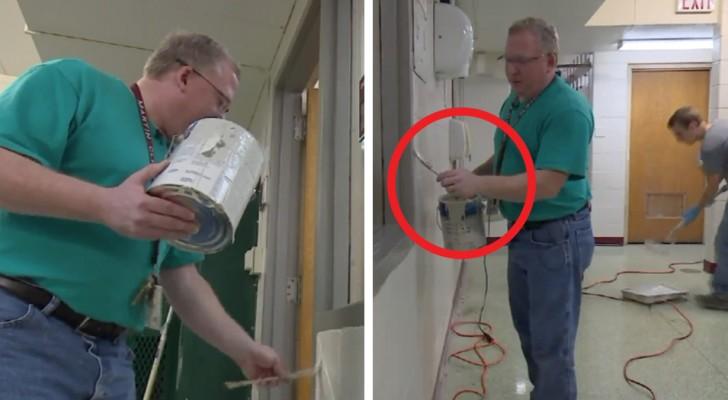 O diretor da escola passou todo o verão pintando a estrutura para que a escola pudesse economizar 150 mil dólares