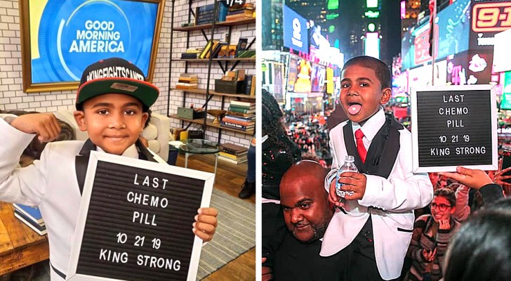 Een 6-jarige jongen viert het einde van de chemotherapie door zijn laatste pil te nemen omringd door zijn geliefden