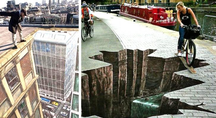 15 capolavori di street art che giocano con la prospettiva e le illusioni ottiche