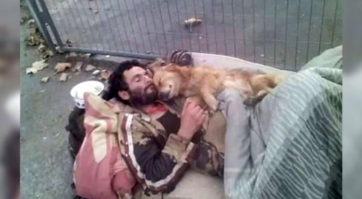 Dieser obdachlose Mann schläft mit seinem Hund im Arm, einem vierbeinigen Engel, der ihn nie im Stich lässt