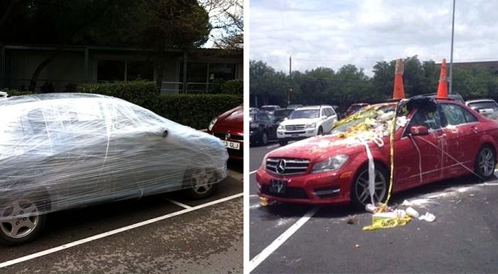 12 automobilisten die op een onbeschaafde manier hebben geparkeerd en een onvergetelijke les hebben ontvangen