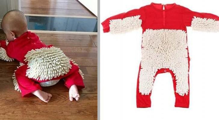Un'azienda ha creato una particolare tutina per bimbi: quando gattonano, ti lucida il pavimento
