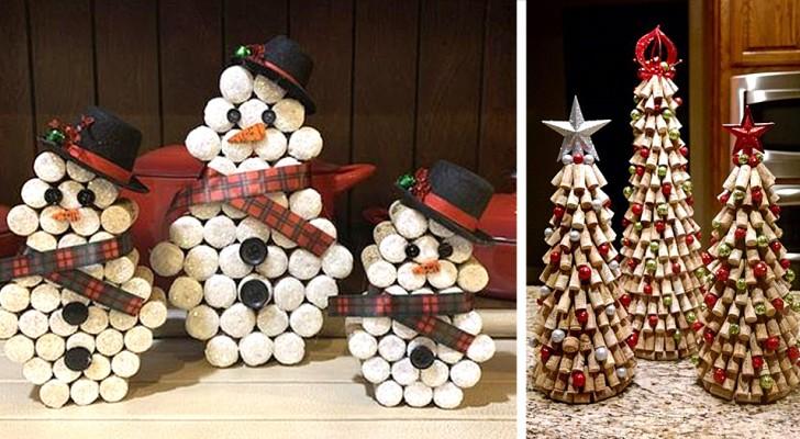 23 lavoretti di Natale con i tappi di sughero: decorazioni simpatiche, facili e belle da vedere