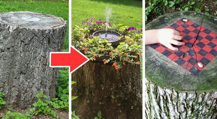 16 soluzioni ingegnose per sfruttare un tronco d'albero tagliato in giardino