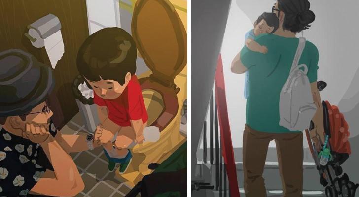 Quest'uomo cerca di disegnare l'amore di un papà e ci riesce cogliendo i momenti migliori tra padre e figlio