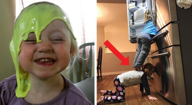 14 foto's van kinderen in rampzalige situaties die elke ouder tot waanzin zouden drijven