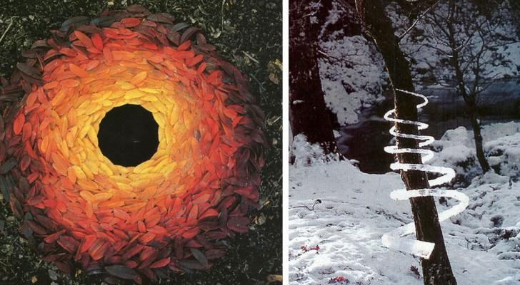 Questo scultore crea delle installazioni artistiche all'aperto utilizzando solo materiali naturali