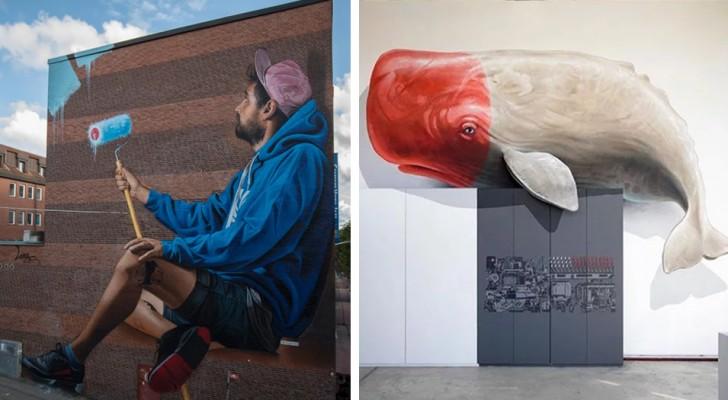 25 indrukwekkende werken van urban street art die ons in een andere dimensie lijken te katapulteren