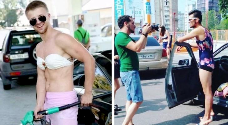 Een distributeur geeft je gratis benzine als je een bikini aan hebt, maar hij had niet verwacht dat mannen de uitdaging aan zouden gaan