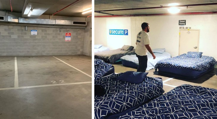 's Nachts verandert deze parkeerplaats in een slaapzaal voor daklozen: het initiatief komt van een liefdadigheidsvereniging