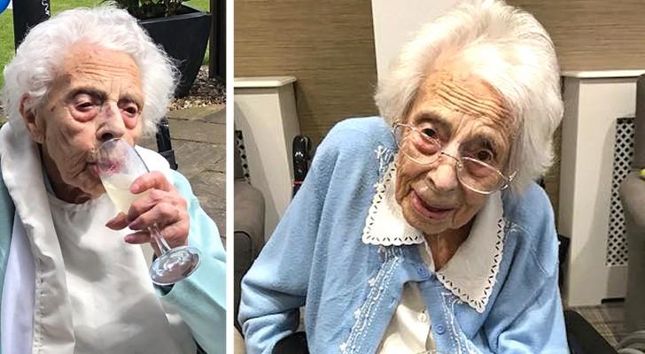 Beve champagne e mangia cioccolato: questa donna di 108 anni ha svelato il segreto della sua longevità