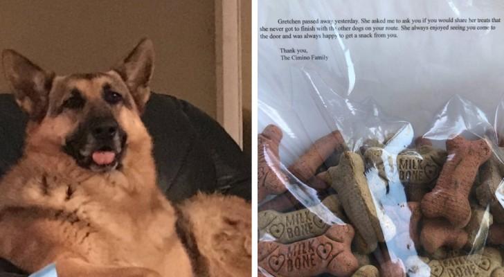 O cachorro morre e a família decide escrever um bilhete para o carteiro que todos os dias trazia um biscoito para ele