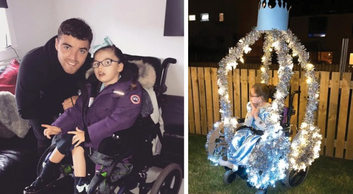 A creative dad turned his daughter's wheelchair into a princess's carriage