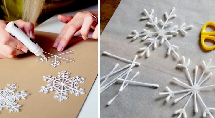 Decorazioni natalizie a forma di fiocchi di neve: idee per realizzarle con tanti materiali diversi