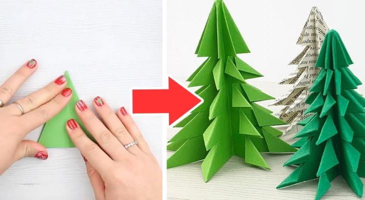Albero Di Natale Origami.Alberi Di Natale Di Carta La Tecnica Facile E Veloce Per Creare Origami Con Un Solo Foglio Creativo Media