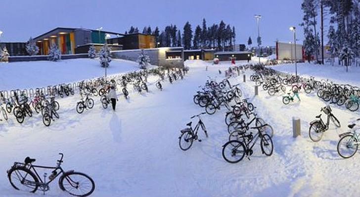 In dieser finnischen Stadt fahren die Schüler mit dem Fahrrad zur Schule, auch wenn die Temperatur -17 °C beträgt