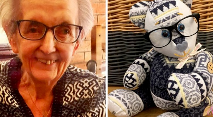 This elderly lady makes memory teddy bears with the clothes of those who have passed away