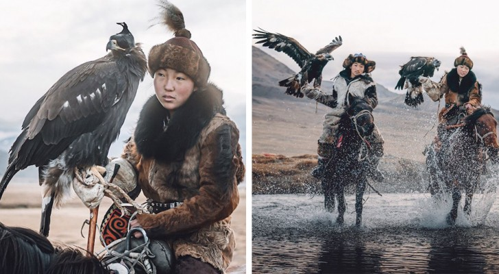 Ces belles images représentent l'une des dernières femmes nomades qui se sert encore de l'aigle pour chasser