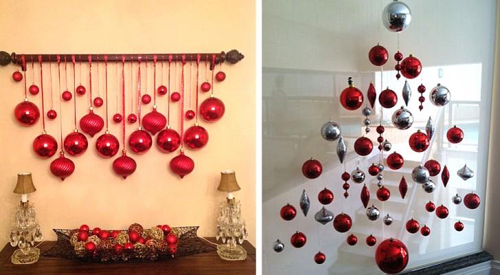 19 idee creative ed economiche per decorare usando le palline di Natale