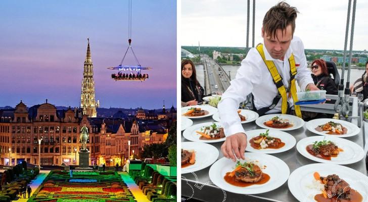 In Athen gibt es ein schwebendes Restaurant, in dem Sie ein wunderbares Abendessen in 40 Metern Höhe genießen können