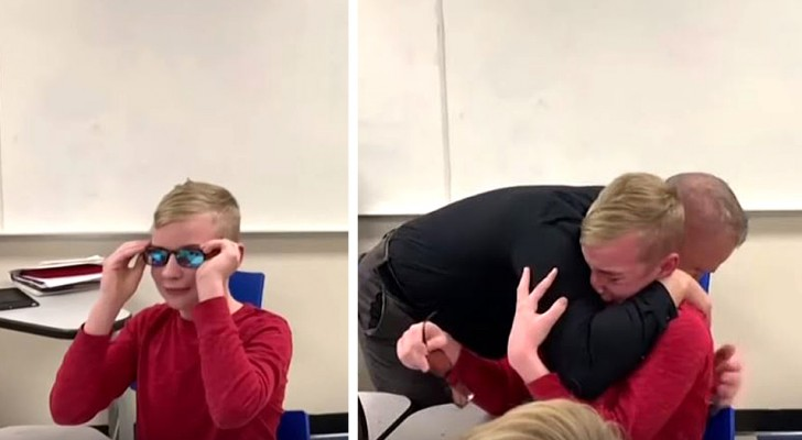 A boy who is color blind sees colors for the first time thanks to the help of his school principal