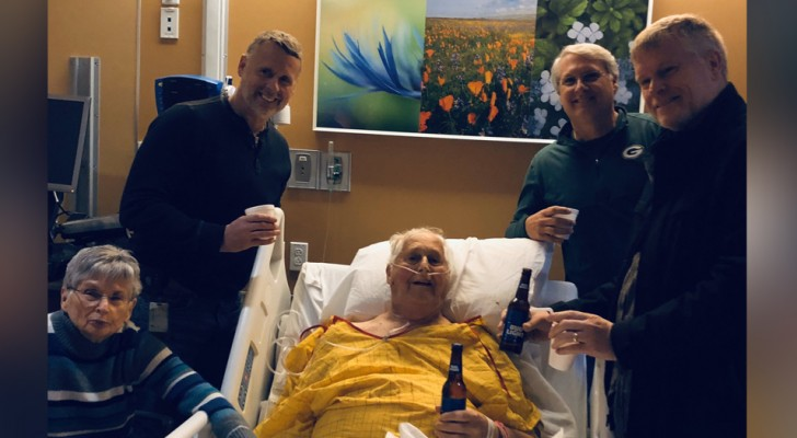 He drinks his last beer in the hospital before passing away and in this way, his family fulfills their grandfather's last wish