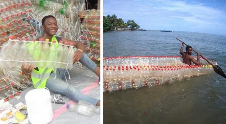 Questo ragazzo costruisce barche con bottiglie di plastica riciclata: salva l'ambiente e aiuta i pescatori bisognosi