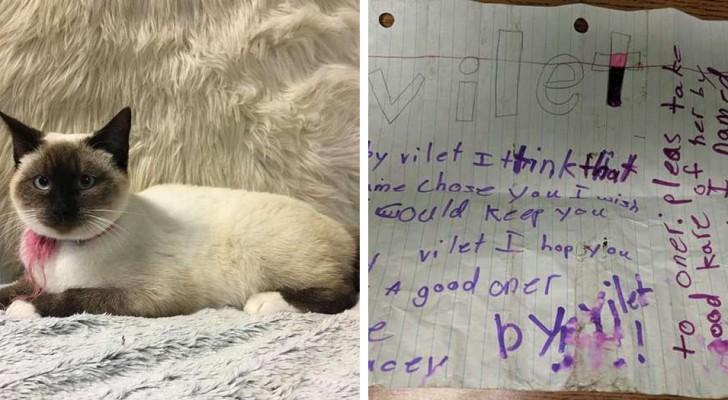 Das Kind kann sein Kätzchen nicht mehr behalten und hinterlässt dem Adoptierenden einen Zettel: