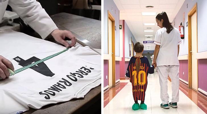 In questo ospedale i bimbi ricoverati indossano le maglie dei loro calciatori preferiti trasformate in camici