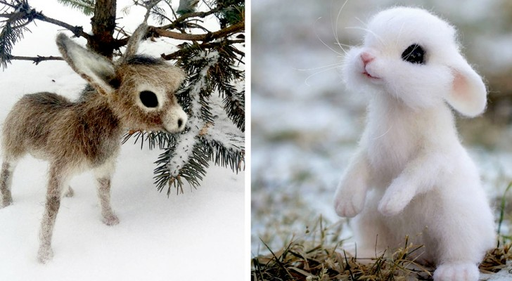 Cette artiste russe crée de petits animaux sauvages en utilisant la technique de la laine feutrée