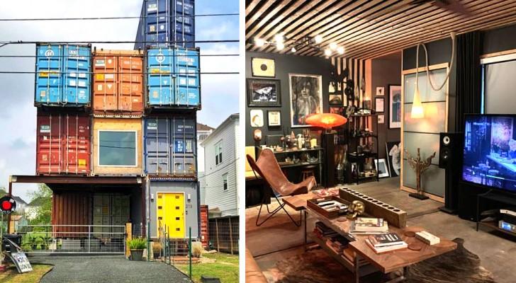 Deze man heeft 11 marinecontainers verenigd en ze in een ruim en modern huis getransformeerd