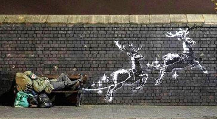 Banksy verwandelt einen Obdachlosen in den Weihnachtsmann, um alle auf das Thema Solidarität aufmerksam zu machen