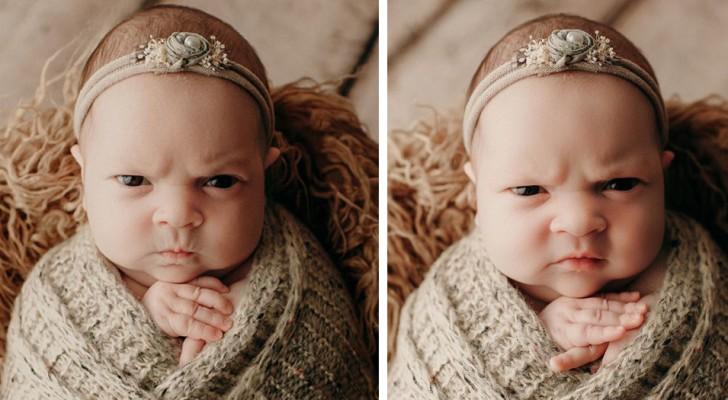 Ihre Eltern machen ein Fotoshooting, aber sie zeigt kein Lächeln: Dieses neugeborene Baby sieht bereits wütend aus