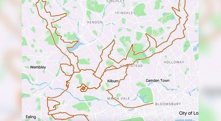Deze fietser fietste 9 uur door Londen en creëerde het beeld van een rendier op de kaart