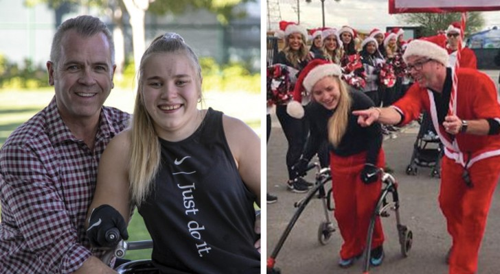 Cette fille avec une infirmité motrice cérébrale s'est entraînée pendant des mois pour finir la course de Noël de sa ville