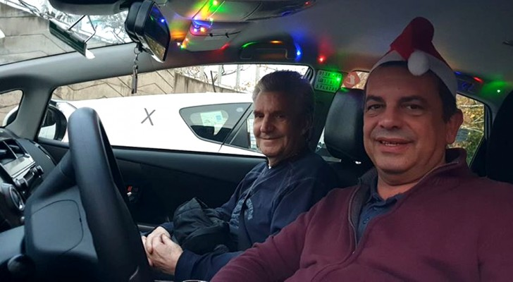 I Madrid kör taxichaufförerna runt gamla människor gratis för att visa dem stadens juldekorationer