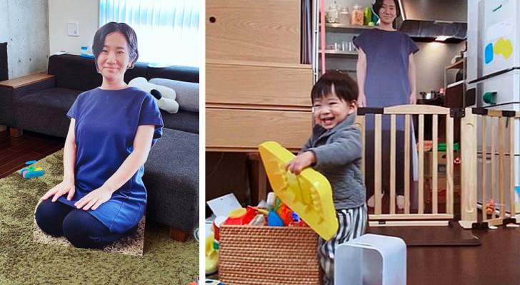 Para no hacer llorar al hijo, posiciona su silueta de cartón en la habitación cada vez que se aleja