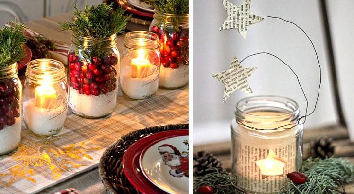 13 idee per trasformare i barattoli in vetro in decorazioni natalizie che renderanno unici gli ambienti di casa