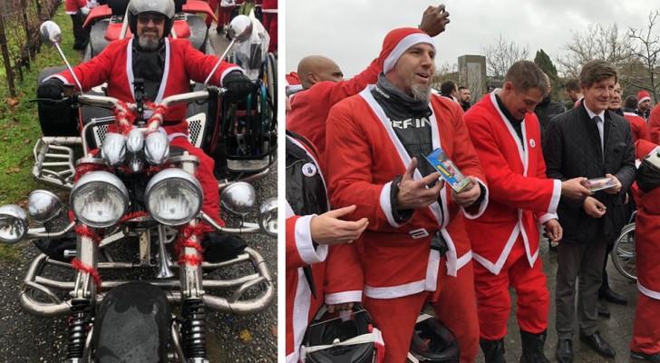 Milhares de motociclistas vestidos de Papai Noel levaram 5000 presentes para as crianças de um hospital pediátrico