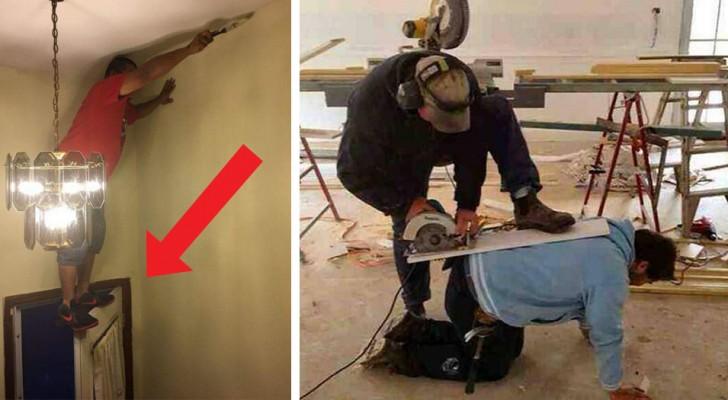 20 absurde foto's van mensen die nog nooit een cursus veiligheid op de werkplek hebben gevolgd