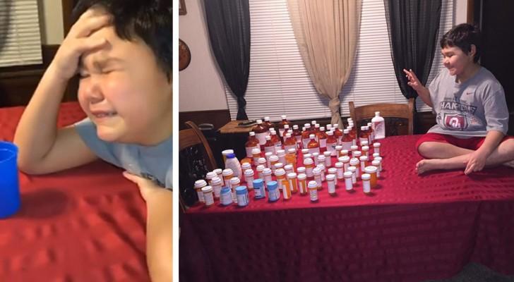 Un enfant pleure de joie en prenant la dernière pilule de son cycle de chimiothérapie