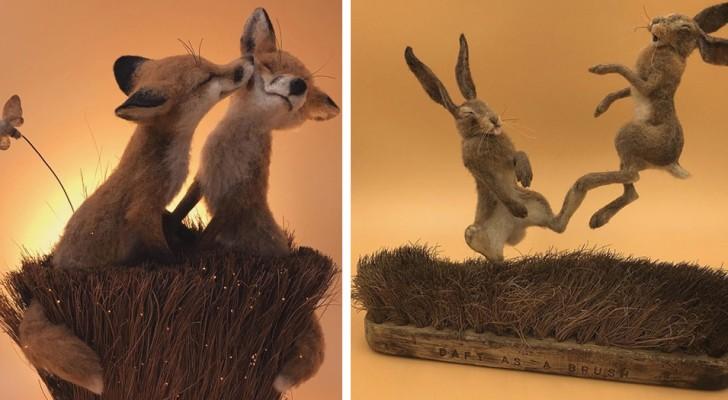 Questo artista trasforma vecchie spazzole e spazzolini in scenari che sembrano usciti da una fiaba