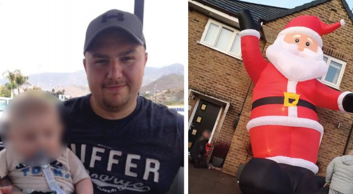 A man accidentally bought an inflatable Santa Claus as tall as his house
