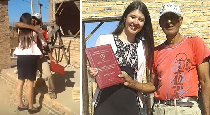 After graduation, this young woman went to her bricklayer father's workplace to thank him for his sacrifices